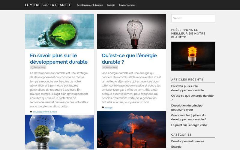 Lumière sur la planète - Le développement durable commence maintenant